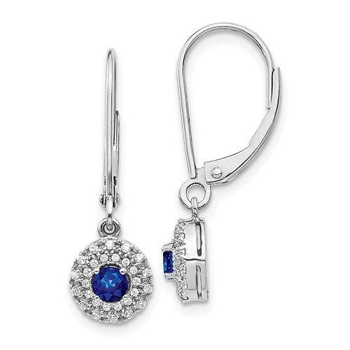 14k White Gold Diamond Halo Sapphire Leverback Dangle Earrings