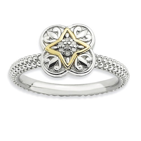 Sterling Silver And 14k Stackable Expressions Diamond Ring