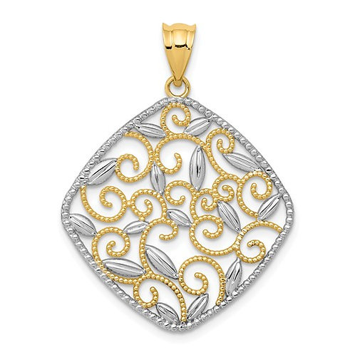 14k And Rhodium Diamond-Cut Filigree Swirl Pendant