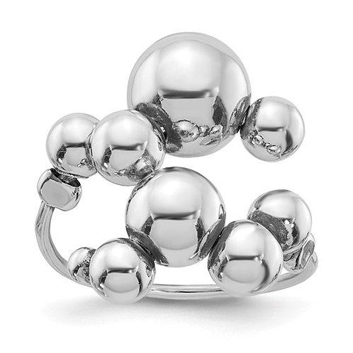 Leslie's Sterling Silver Polished Beaded Adjustable Ring
