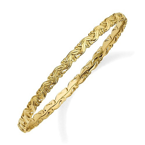 Sterling Silver Stackable Expressions Gold-Plated Carved Slip-On Bangle
