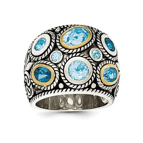 Sterling Silver With 14k Gold And Blue Topaz Fancy Ring