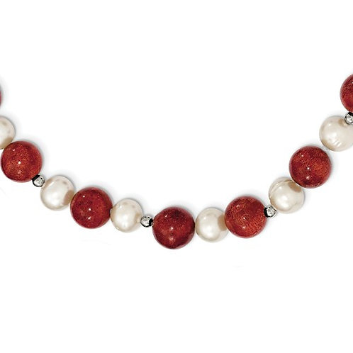 Sterling Silver FW Cultured Pearl And Stabilized Red Coral Necklace