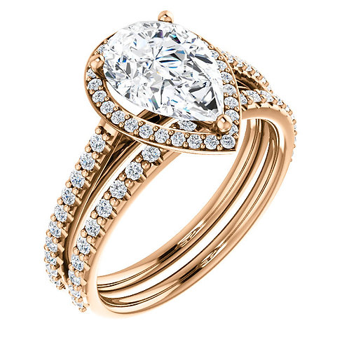 14K Rose 10x7mm Pear Halo-Style Engagement Ring Semi-Set Mounting