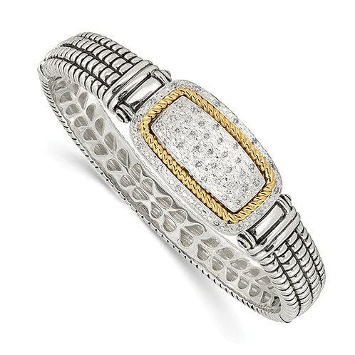 Sterling Silver With 14k 1/4ct. Diamond Bangle Bracelet