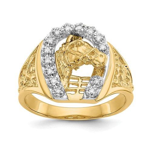 14k Two-Tone AA Diamond Men's Ring