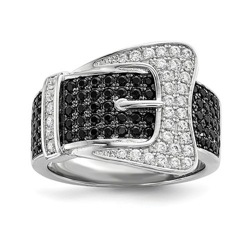 Sterling Silver And CZ Brilliant Embers Buckle Ring