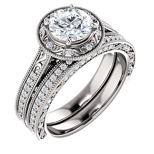 14K White 6.5mm Round Engagement Ring Semi-Set Mounting