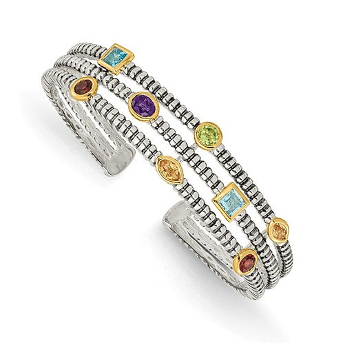 Sterling Silver With 14k 1.74tw Gemstone Cuff Bracelet