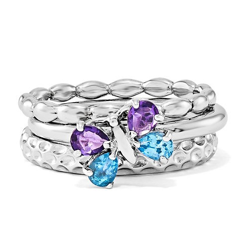 Sterling Silver Stackable Expressions Beautiful Butterfly Ring Set