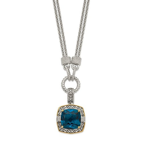 Sterling Silver With 14K London Blue Topaz And Diamond 1in. Ext. Necklace