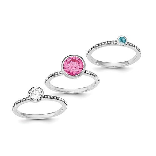 Sterling Silver Rhodium-Plated With Pink And White CZ And Blue Glass Ring Set