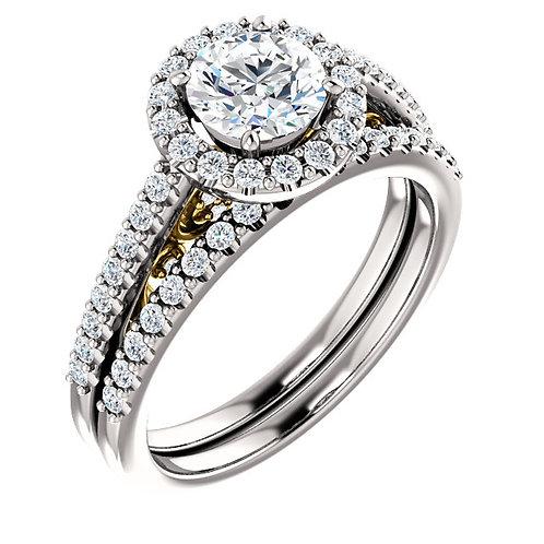 14K White & Yellow 5.8mm Round Engagement Ring Semi-Set Mounting