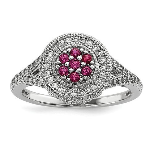 Sterling Silver And CZ Brilliant Embers Circle Ring