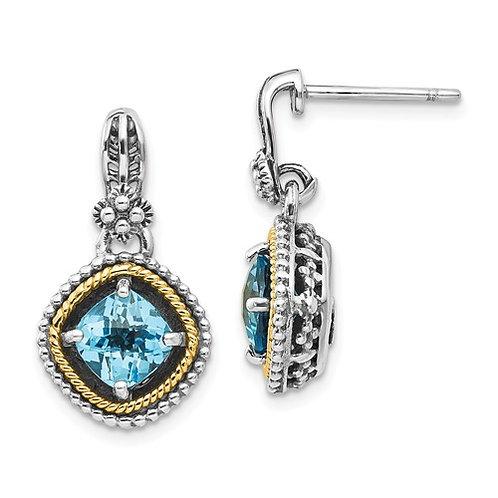 Sterling Silver With 14k Swiss Blue Topaz Earrings