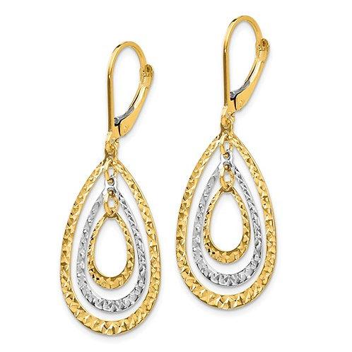 14K Two-Tone Diamond Cut Leverback Earrings