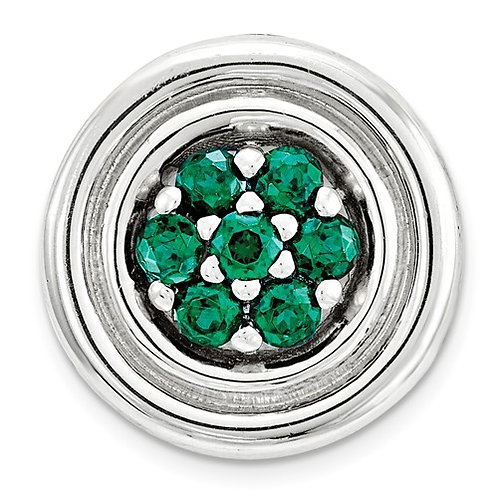 Sterling Silver Stackable Expressions Small Created Emerald Chain Slide