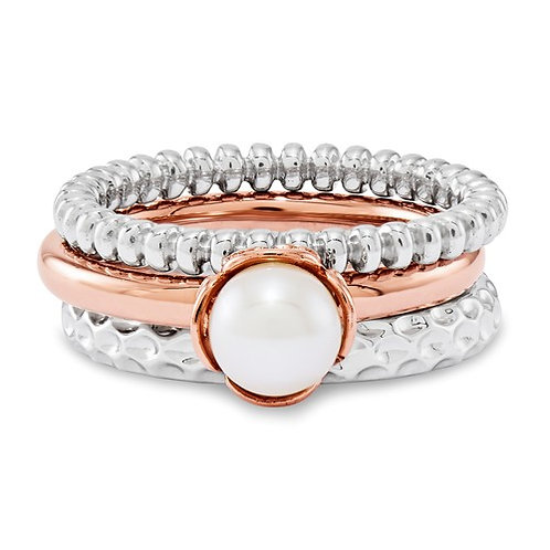 Sterling Silver Stackable Expressions Perfect Pink Ring Set