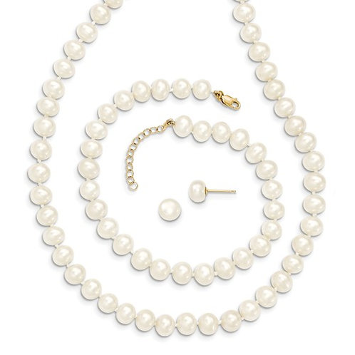 14k 6-7mm FW Cultured Pearl 7.25 With 1 Ext Brace 18 With 2 Ext Neck Earring Set