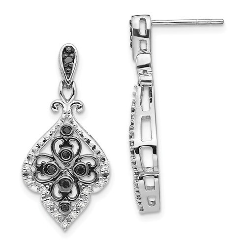 Sterling Silver Black And White Diamond Earring