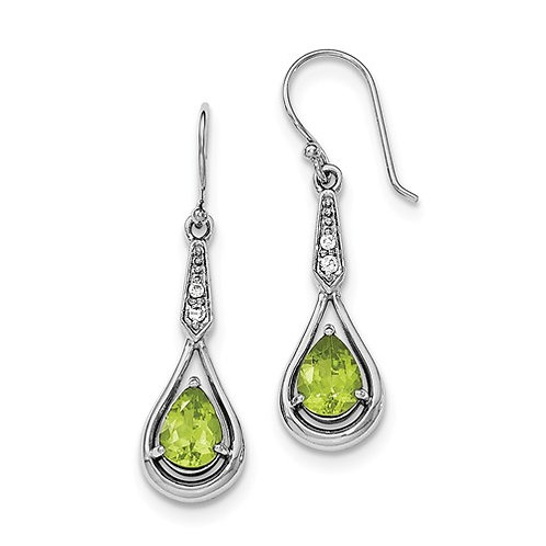 Sterling Silver Rhodium-Plated With CZ And Peridot Dangle Earrings