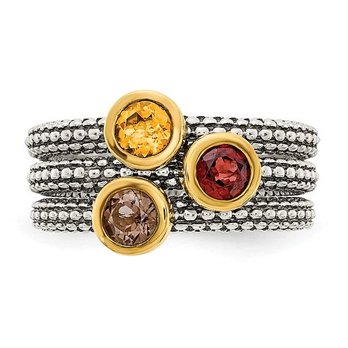 Sterling Silver With Flash GP Garnet/Citrine/Smoky Quartz 3 Stackable Rings