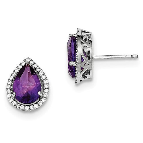 Sterling Silver Rhodium Polished Amethyst And CZ Post Earrings