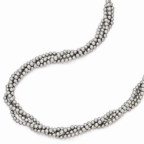 Sterling Silver Majestik 4Row 4-5mm Grey Shell Pearl Twist Necklace