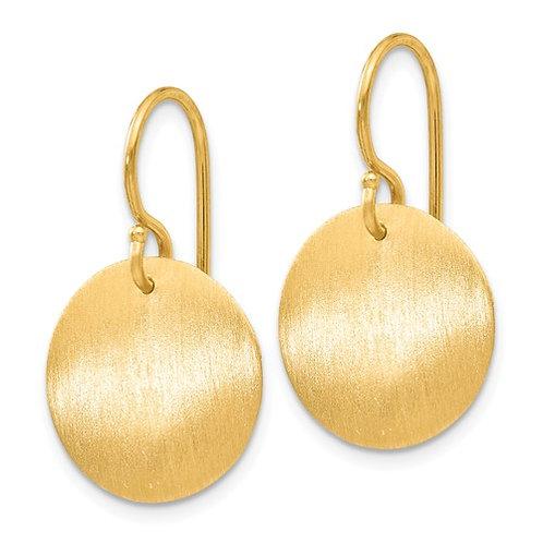 14k Satin Circle Disc Earrings