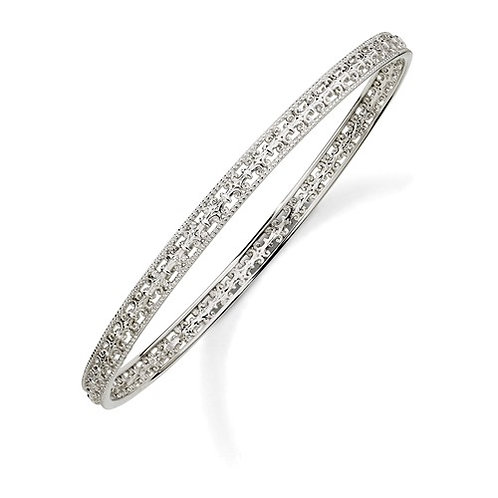 Sterling Silver Stackable Expressions Carved Slip-On Bangle