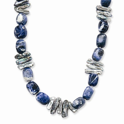 Sterling Silver Sodalite And Grey FW Cultured Pearl Necklace