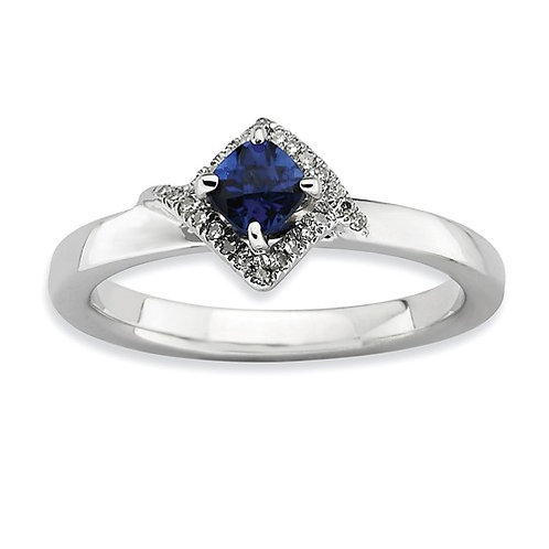 Sterling Silver Stackable Expressions Polished Cr. Sapphire And Dia Ring