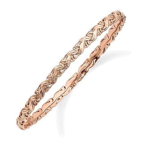 Sterling Silver Stackable Expressions Pink-Plated Carved Slip-On Bangle