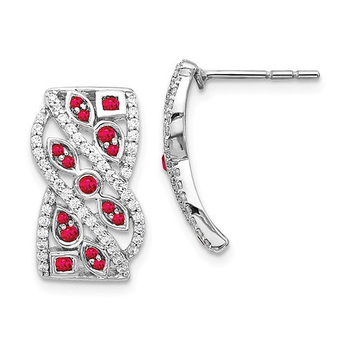 14k White Gold Diamond And Ruby Fancy Earrings