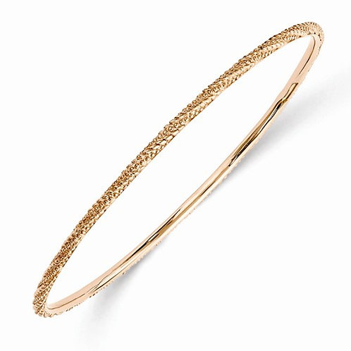 Sterling Silver Stackable Expressions Polished Rose Gold-Plated Bracelet