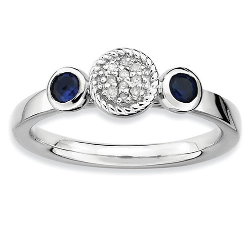 Sterling Silver Stackable Expressions Dbl Round Cr. Sapphire And Dia. Ring