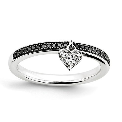 Sterling Silver Stackable Expressions Heart Black And White Diamond Ring