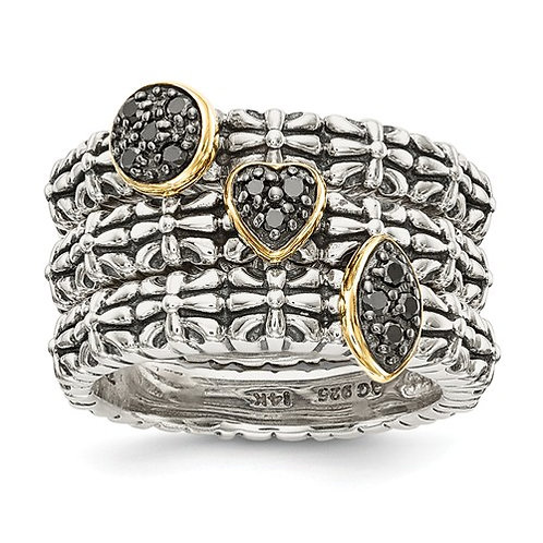 Sterling Silver With 14k Black Diamond 3 Stackable Rings