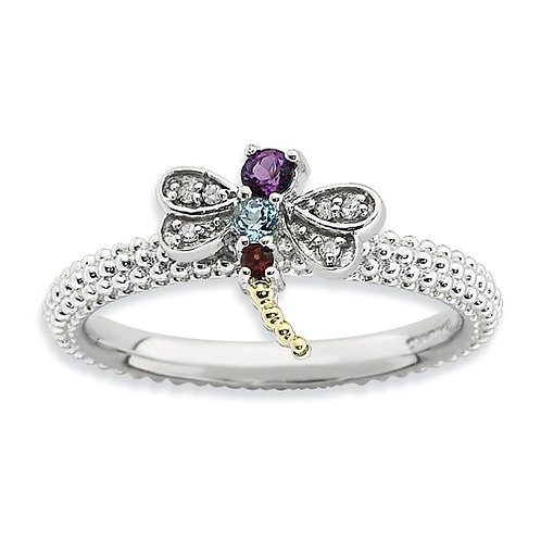 Sterling Silver And 14k Stackable Expressions Gemstone And Diamond Dragonfly Rin