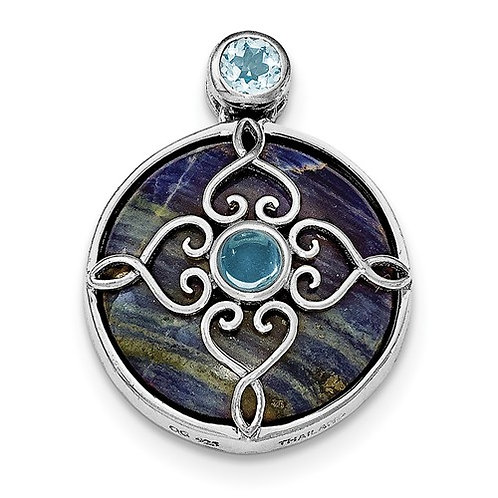 Sterling Silver Rhodium-Plated With Sodalite And Blue Topaz Pendant