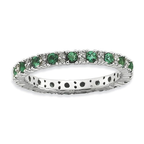 Sterling Silver Stackable Expressions Polished Cr. Emerald And Dia Ring