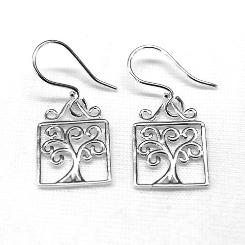 Southern Gates Southern Oak Tree Of Life Square Earrings