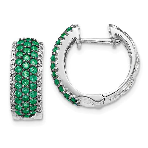 14k White Gold AA Diamond And Emerald Earrings