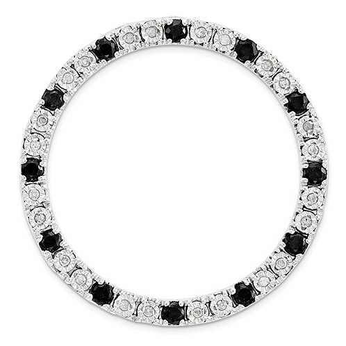 Sterling Silver Stack Expressions Large Diamond And Black Sapphire Chain Slide