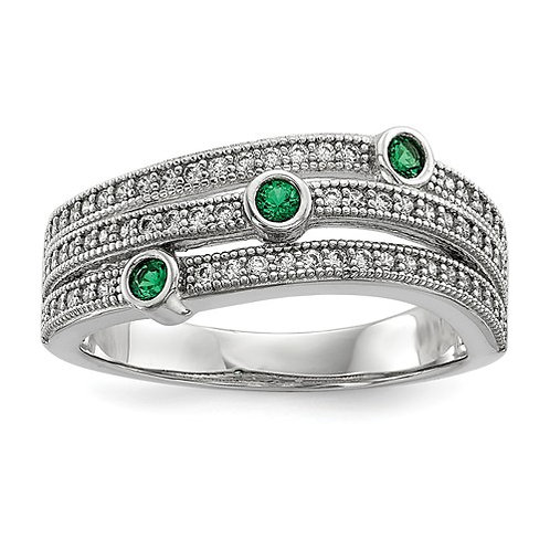 Sterling Silver Clear And Green CZ Brilliant Embers Polished Ring