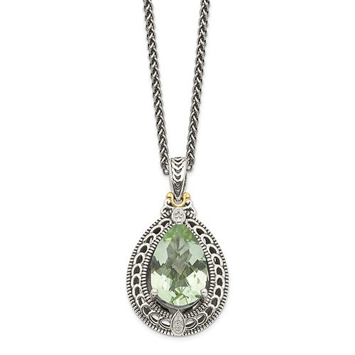 Sterling Silver With 14k Diamond And Green Quartz Necklace