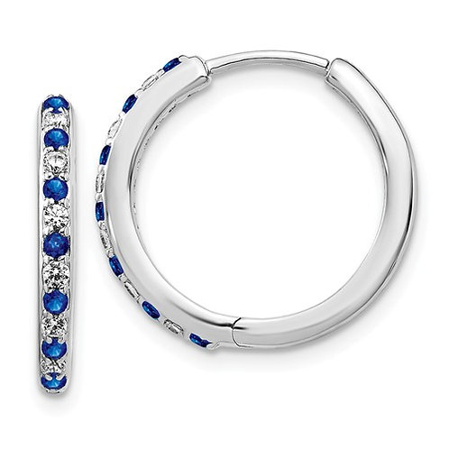 14k White Gold Diamond And Sapphire Hinged Hoop Earrings