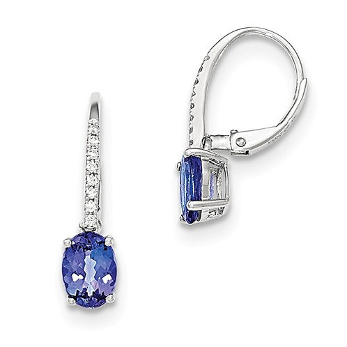 14k White Gold Oval Tanzanite And Diamond Leverback Earrings