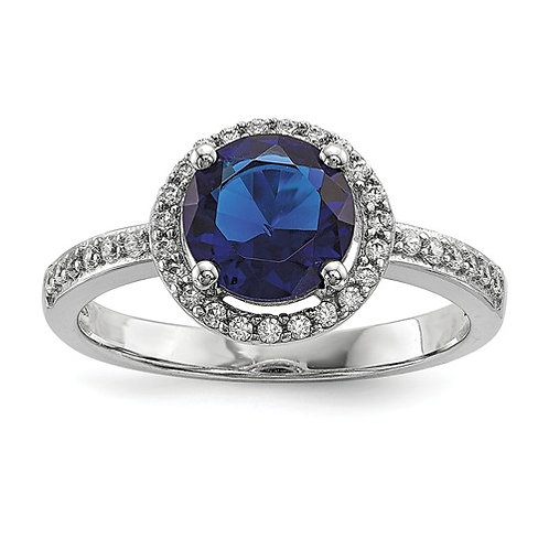 Sterling Silver White And Blue CZ Brilliant Embers Polished Ring