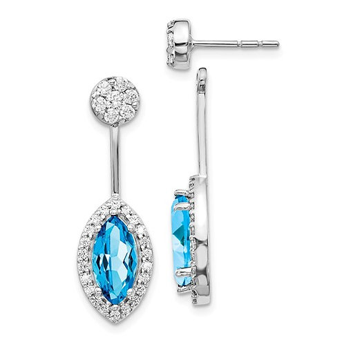 14k White Gold Diamond And Blue Topaz Earrings